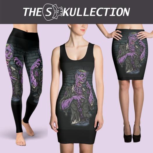 the skullection, yoga pants, horror, sugar skulls, zombie