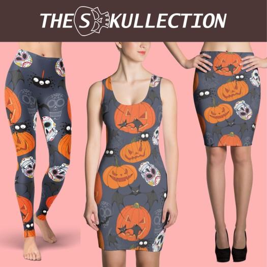 the skullection, yoga pants, horror, sugar skulls, halloween, pumpkin