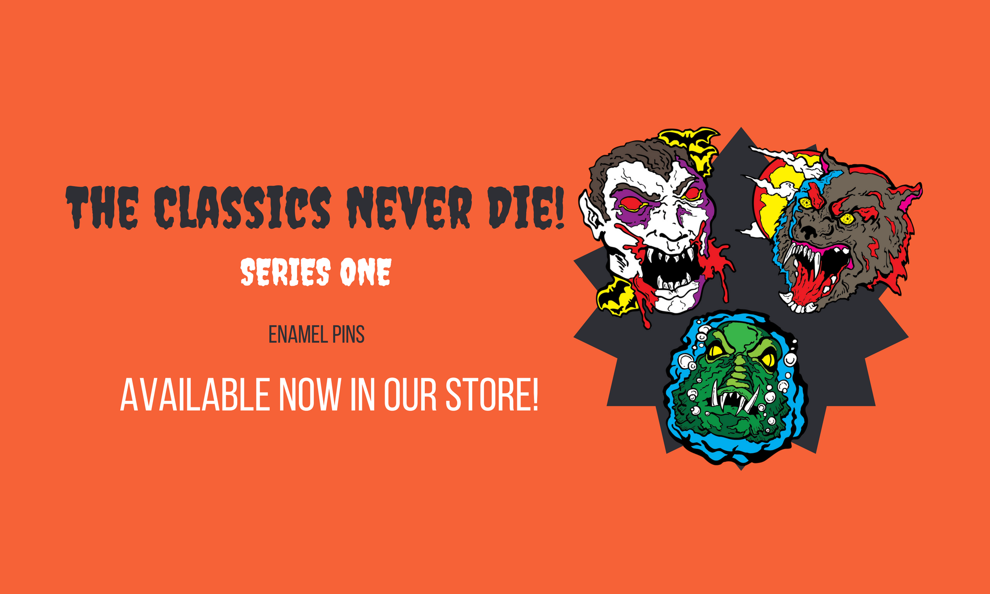 Scary basement media, enamel pins, classics, horror, shop, store