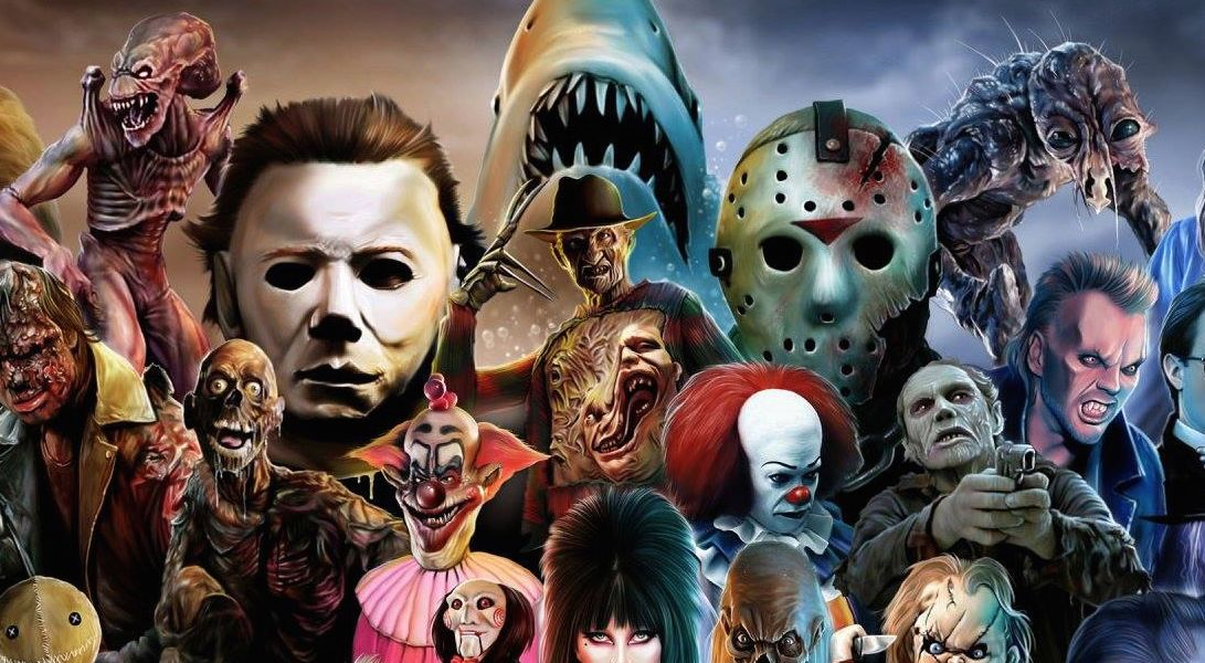 horror icons, michael myers, jason voorheen, halloween, friday the 13th, jaws, it, the lost boys, night of the living dead